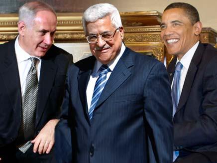 """אובמה נתניהו ואבו מאזן. המו""""מ יתחדש? (צילום: רויטרס ו AP)"""