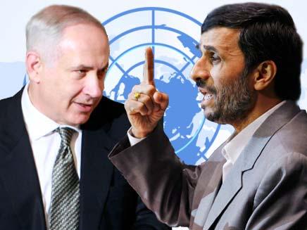 אחמדינג'אד ונתניהו. אין קשר לתקיפה באירן (צילום: AP)