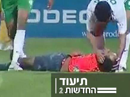 שופט כדורגל נכנס לקומה במרוקו (צילום: חדשות 2)