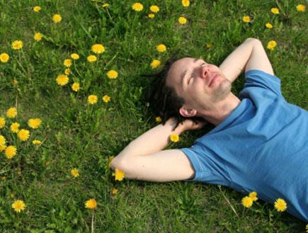 גבר שוכב על הדשא 1 (צילום: istockphoto)