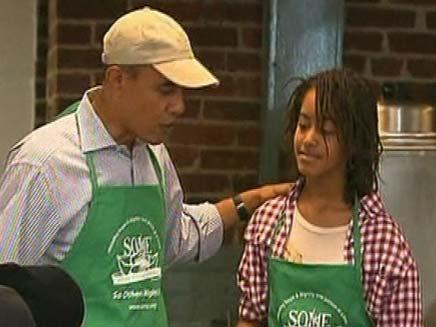 המלצר ברק אובמה (צילום: חדשות 2)