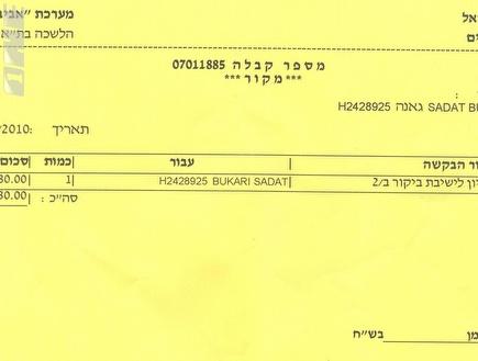 הוויזה של סאדאת בוקארי (צילום: מערכת ONE)