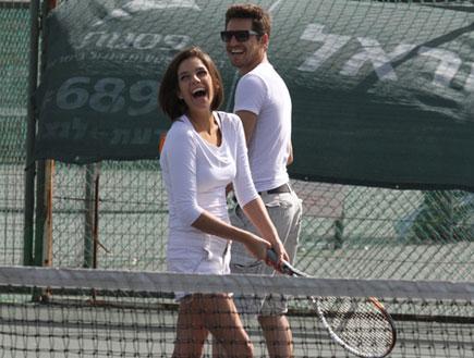 טל טלמון ושי כהנא משחקים טניס, פפראצי 7 (צילום: אלעד דיין)