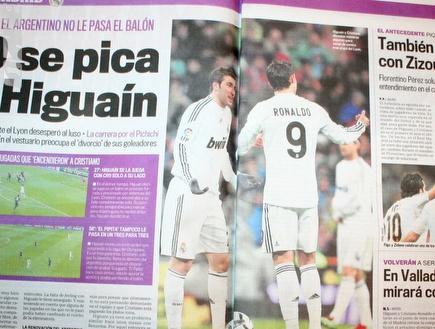 היגוואין ורונאלדו על שערי עיתוני ספרד לאחר ההדחה מול ליון (שרון קב