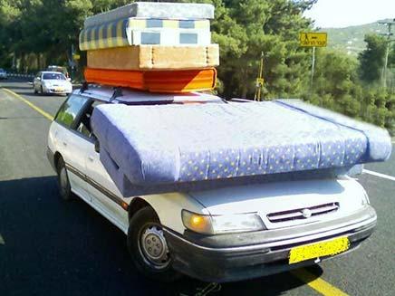 מיטה על גלגלים (צילום: משטרת התנועה)