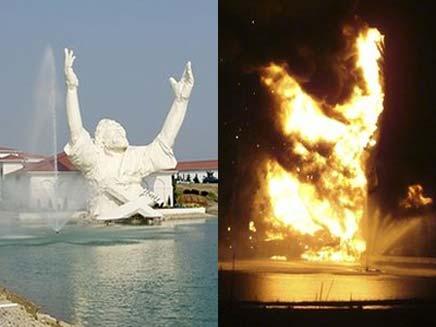 """""""המושיע"""" עולה באש (צילום: AP)"""