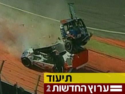 צפו בהתנגשות בין המשאיות במרוץ בברזיל (צילום: חדשות 2)