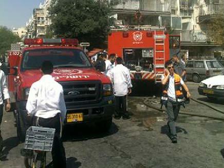שריפה בשמואל הנגיד בירושלים (צילום: חדשות 2)