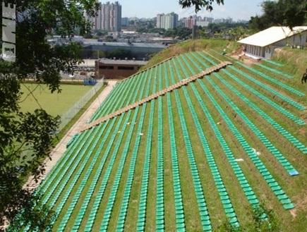 היציעים הירוקים באצטדיון אקו בברזיל (צילום: מערכת ONE)