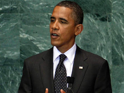 """נאום אובמה בעצרת האו""""ם אתמול (צילום: רויטרס)"""