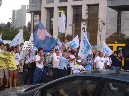 """ההפגנה למען גלעד שליט, הבוקר בת""""א (צילום: עזרי עמרם)"""