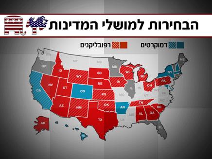 מפת התוצאות של הבחירות למושלים (צילום: חדשות 2)