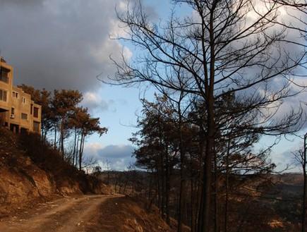 בית אורן לאחר השריפה (צילום: ינון נבו)