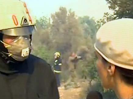 שרה בק מראיינת כבאי, שריפה בכרמל (צילום: חדשות 2)