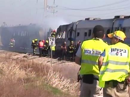 שריפה ברכבת סמוך לשפיים (צילום: חדשות 2)