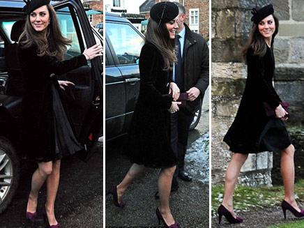 כובע שחור, עקבים סגולים ותיק תואם. קייט, (צילום: דיילי מייל)