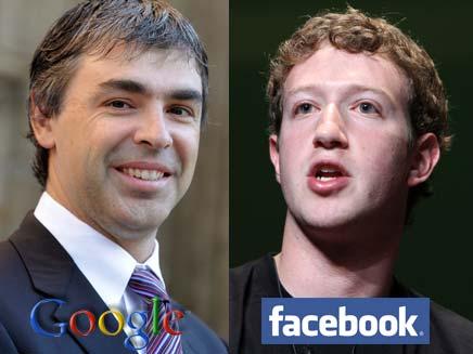 """מנכ""""ל פייסבוק מארק צוקרברג ומנכ""""ל גוגל לארי פייג' (צילום: רויטרס)"""