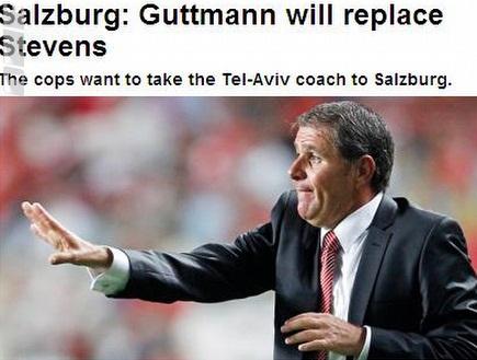 """אלי גוטמן באוסטריה תחת הכיתוב """"יחליף את סטיבנס"""" (צילום: מערכת ONE)"""