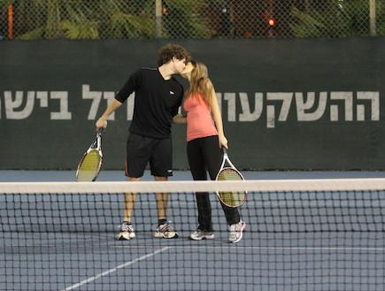 טומי אלתגר, איילה רשף, אימון טניס (צילום: אלעד דיין)