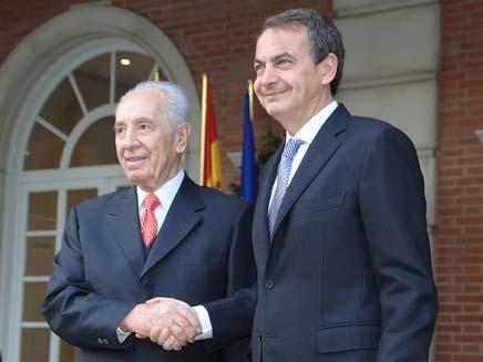 """הנשיא פרס וראש ממשלת ספרד (צילום: עמוס בן גרשום לע""""מ)"""