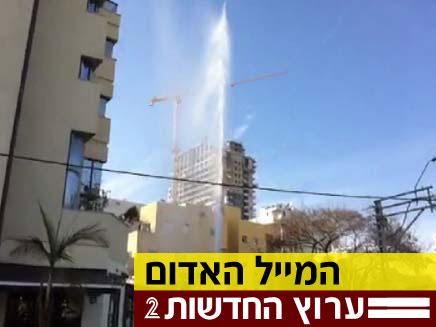 """צפו: פיצוץ צינור המים בת""""א (צילום: תומר בן ישעיהו)"""