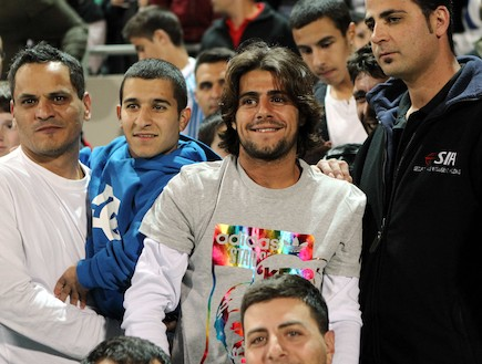 ג'קי מנחם במשחק של נבחרת ישראל (צילום: עודד קרני)