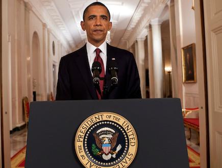 ברק אובמה מודיע על חיסולו של אוסאמה בן לאדן (צילום: Pool, GettyImages IL)