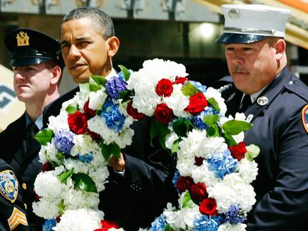 טקס זיכרון לקורבנות הפיגוע בתאומים בגראונד זירו (צילום: AP)