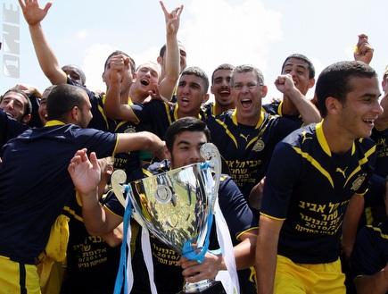 שחקני הנוער חוגגים אליפות (יניב גונן) (צילום: מערכת ONE)