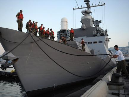 לוחמים על ספינת טילים (צילום: Pool, GettyImages IL)
