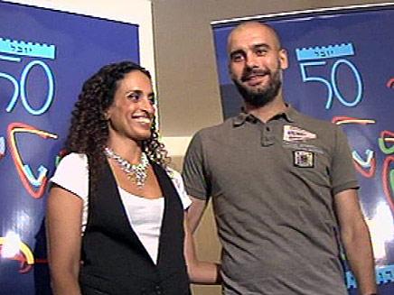 פפ גווארדיולה ואחינועם ניני (צילום: חדשות 2)
