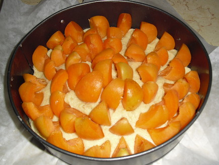 עוגת משמש לפני האפייה, אביבה (צילום: אביבה פיבקו)