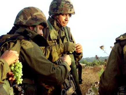 פזם חיילים עם אפודים וקסדות אוכלים ענבים