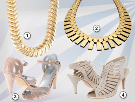 קולאז שרשראות זהב ונעליים