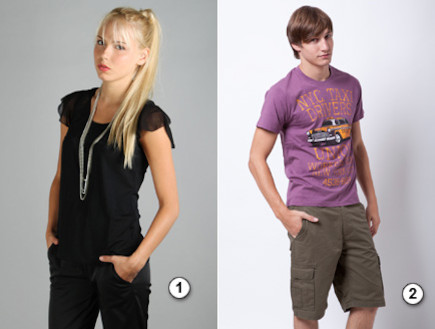 קולאז חולצה סגולה לגבר וחולצה שחורה לאשה