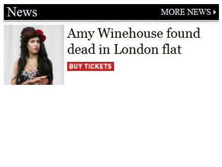 """פדיחה בארה""""ב: איימי מתה, קנו כרטיסים (צילום: NME.com)"""