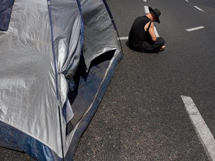 מחאת הדיור, היום מול עזריאלי (צילום: AP)