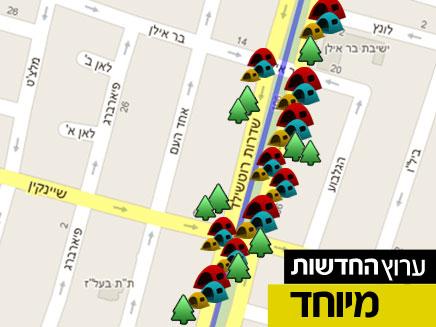 מפת המחאה (צילום: חדשות 2, google maps)