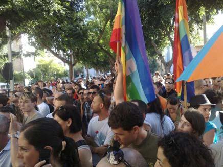 """הפגנה של הקהילה ההומו-לסבית בת""""א (צילום: חדשות 2)"""