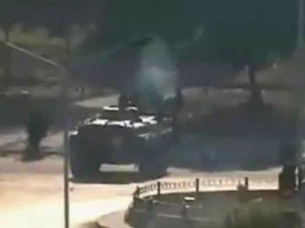 טנק בעיר חאמה בסוריה (צילום: חדשות 2)