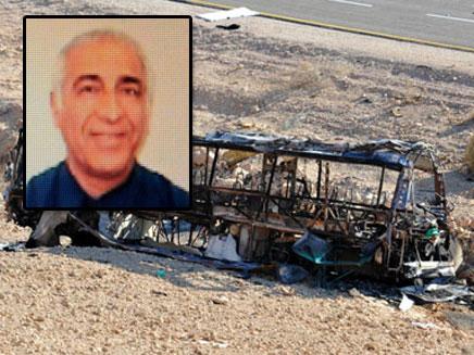 האוטובוס השרוף בו נהג יצחק סלע (צילום: חדשות 2)