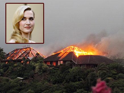 קייט ווינסלט על רקע הבית הבוער (צילום: AP / רויטרס)
