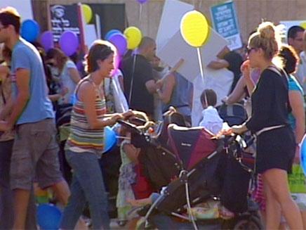 מחאת העגלות בתל אביב, היום (צילום: חדשות 2)