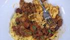 פסטה ביתית ברוטב בולונז, שקדי עגל וערמונים (תמונת AVI: mako)