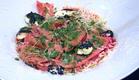 פסטה סלק עם גבינת עיזים ופסטו (תמונת AVI: mako)
