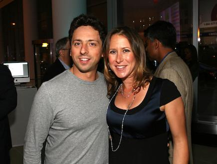מייסד גוגל סרגיי ברין ואשתו אן וושיקי (צילום: Donald Bowers, GettyImages IL)