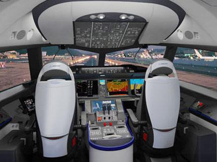 """תא הטייס. """"מטוס משנה משחק"""" (צילום: אתר בואינג)"""