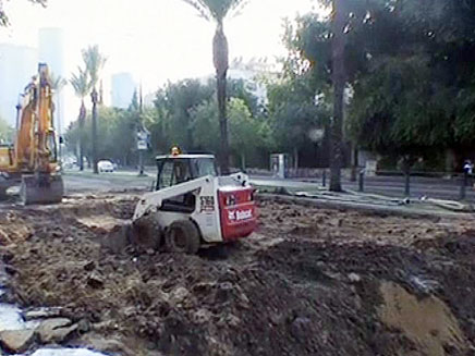"""העבודות בת""""א, היום (צילום: חדשות 2)"""