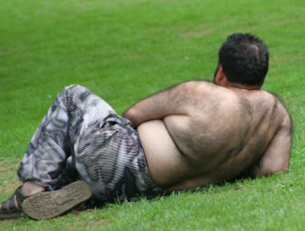 גבר שעיר בדשא (צילום: Chris Johnson, Istock)