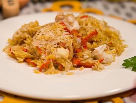 תבשיל אורזו עם לוקוס וזעפרן (צילום: עדי עובדיה)